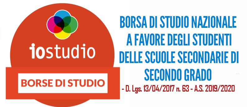 BORSA DI STUDIO NAZIONALE PER STUDENTI DELLE SCUOLE SECONDARIE DI SECONDO GRADO -2019/2020